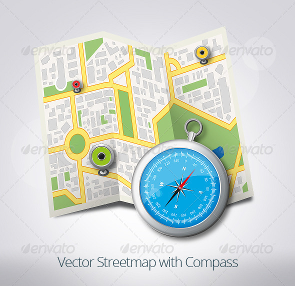 Streetmap with Compass - Objects Vectors
