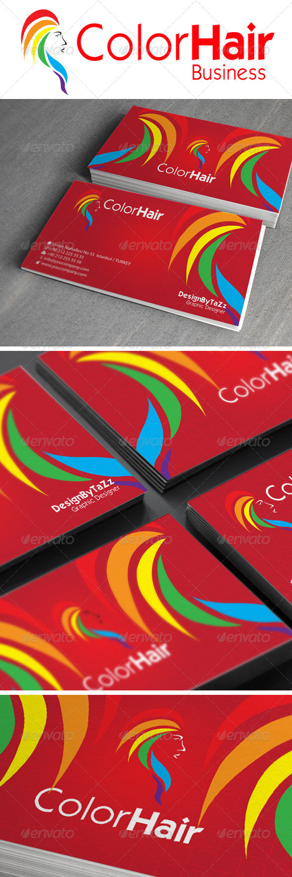 Color Hair Business Card - Creative Business Cards