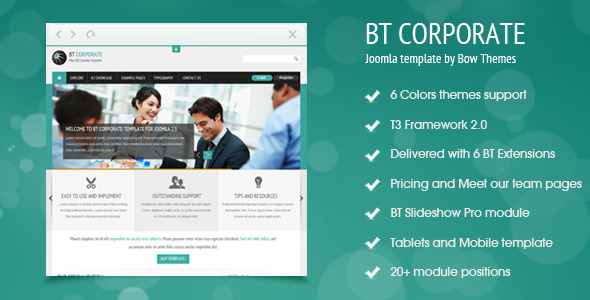Bt corporate template for joomla 2 5 by bowthemes for Joomla templates with sample data
