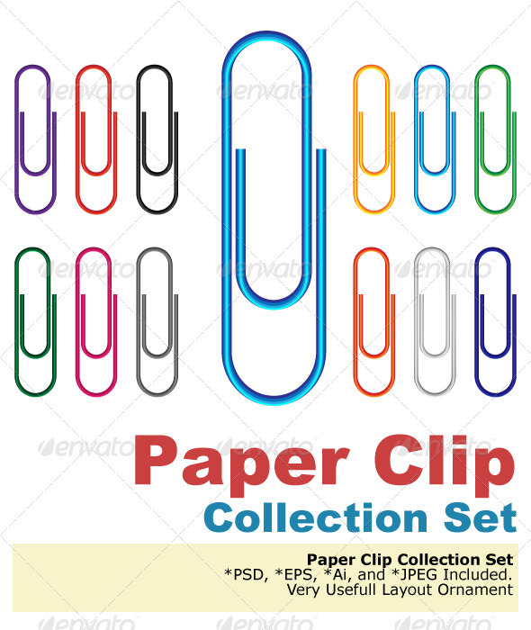 Paper Clip Multi Colored - Decorative Symbols Decorative