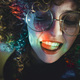 Young woman portrait illuminated by psychedelic lights - PhotoDune Item for Sale