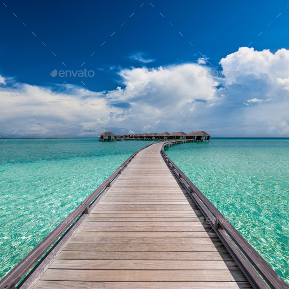 Beautiful beach with water bungalows - Stock Photo - Images