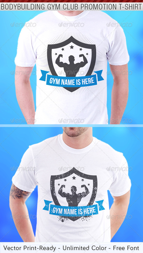 Bodybuilding Gym Club Promotion T-Shirt Template - Sports & Teams T-Shirts