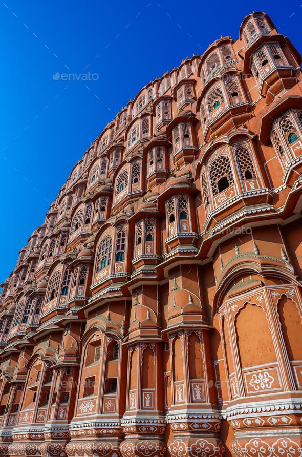 Hawa Mahal palace or The Palace of Winds, Jaipur, Rajasthan, India - Stock Photo - Images