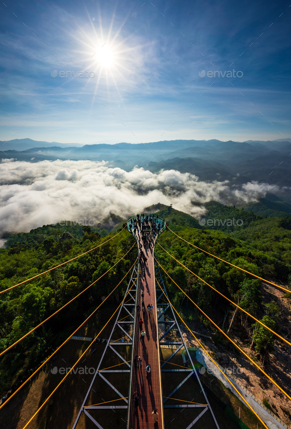 Tourist visited sea of fog in the morning, Betong, Yala, Thailand - Stock Photo - Images