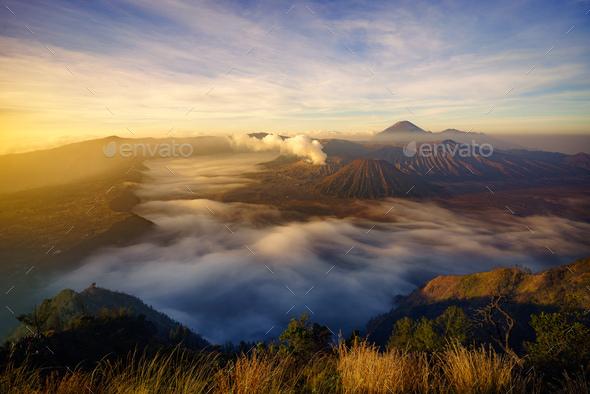 Bromo volcano at sunrise, East Java, Indonesia - Stock Photo - Images