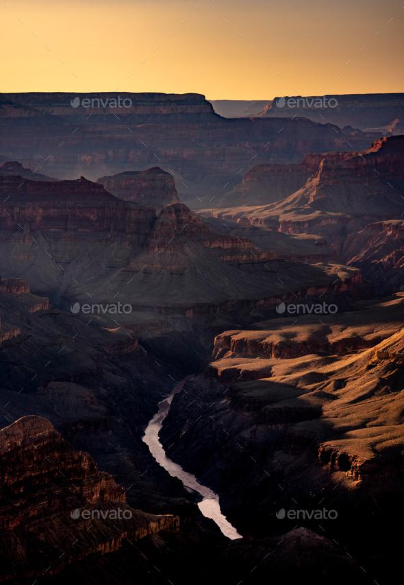 Grand Canyon National park at sunrise, Arizona, USA - Stock Photo - Images