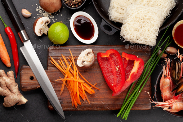 Ingredients for wok cooking - Stock Photo - Images