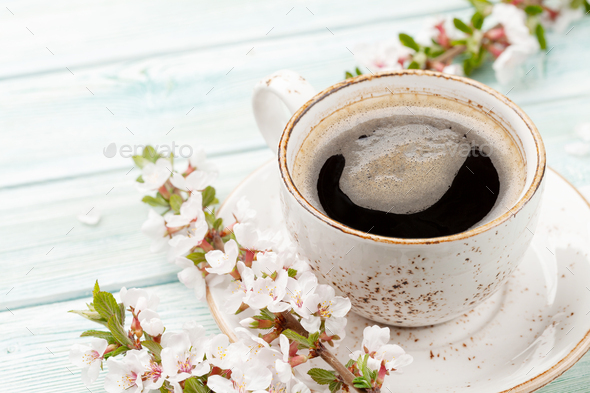 Morning espresso coffee cup and cherry blossom - Stock Photo - Images