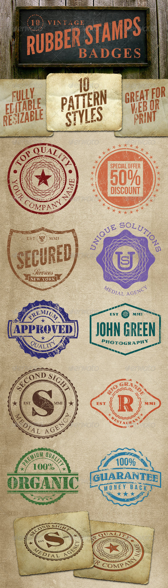 10 Rubber Stamps - Badges & Stickers Web Elements