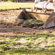 Small Bulldozer Removing Grass From Yard Preparing For Pool Installation - PhotoDune Item for Sale