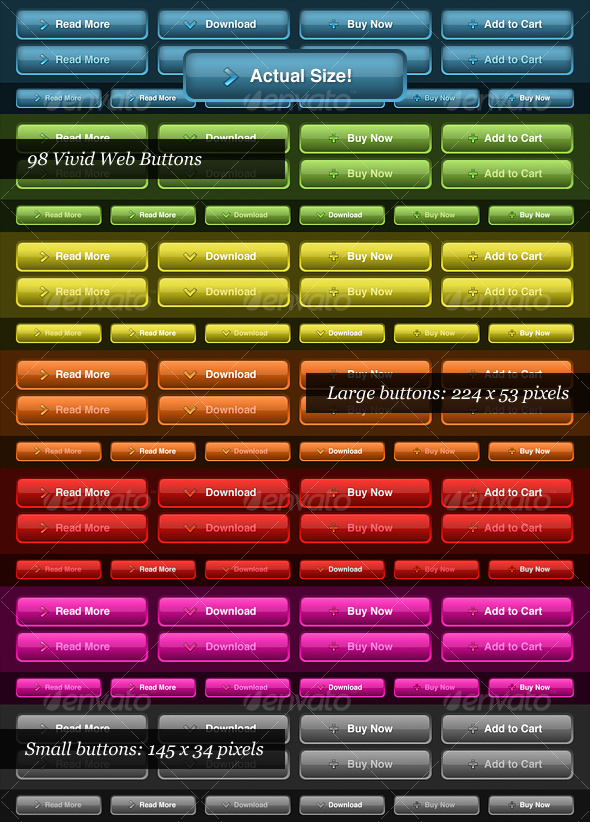 Vivid Color Web Buttons - Buttons Web Elements