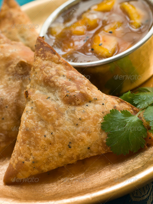 Vegetable Samosa with Mango Chutney - Stock Photo - Images