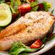 Salmon fish steak grilled, avocado and fresh vegetable salad - PhotoDune Item for Sale