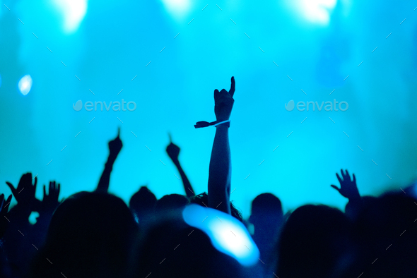 Rear view of silhouette of crowd with arms outstretched at concert. Summer music festival concept - Stock Photo - Images