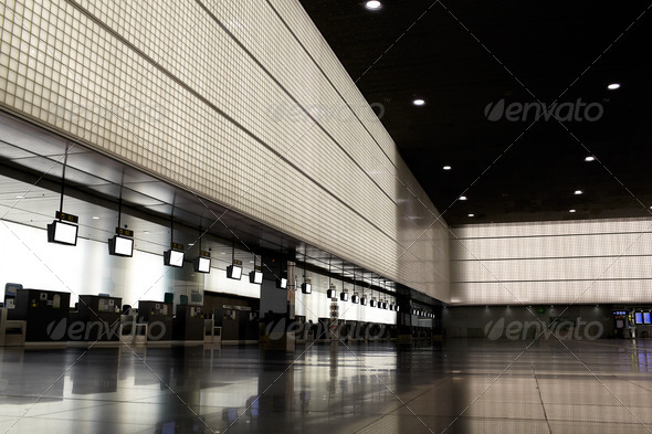 Empty airport hall. - Stock Photo - Images