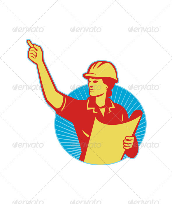Female Engineer Construction Worker Pointing Retro - Industries Business