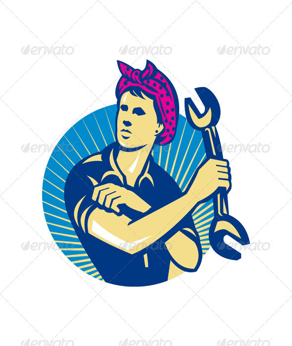 Female Mechanic Worker With Spanner Retro - Industries Business