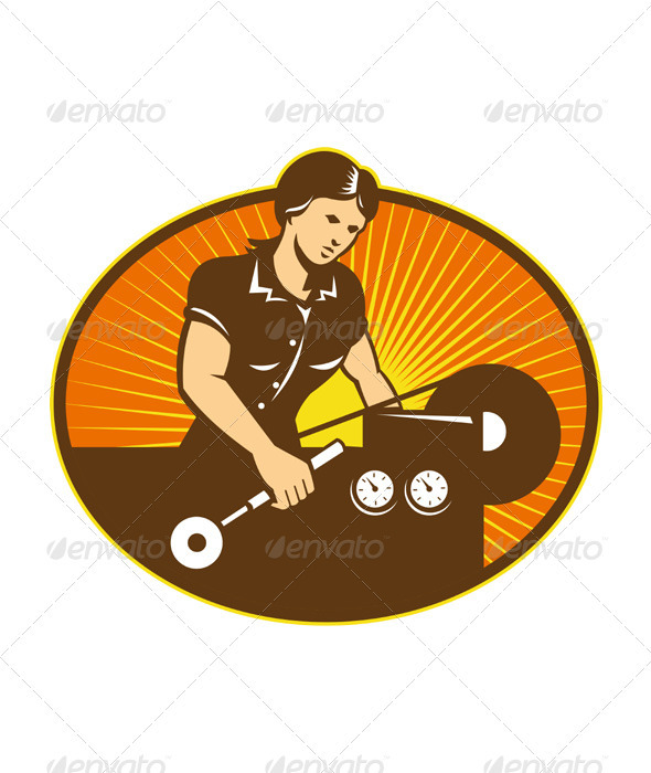 Female Machinist Worker Lathe Machine - Industries Business
