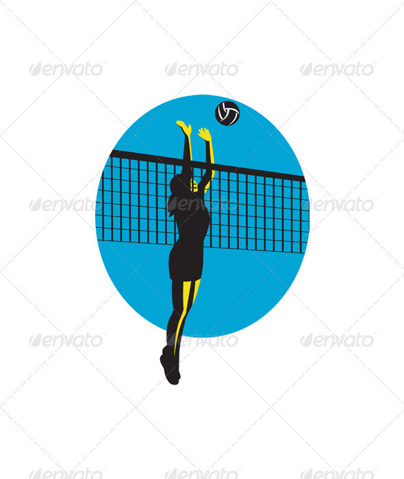 Volleyball Player Spiking Ball Retro - Sports/Activity Conceptual