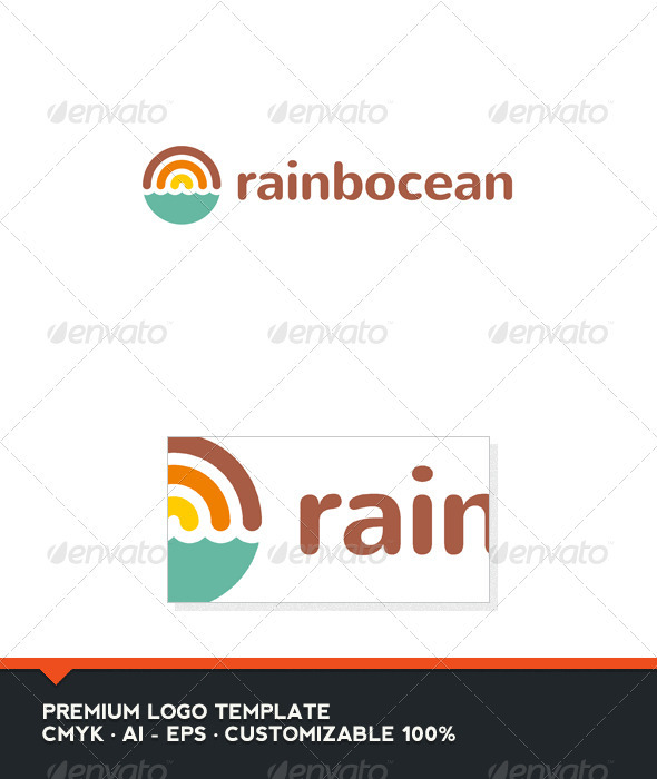 Rainbocean - Rainbow and Ocean Logo Template - Nature Logo Templates