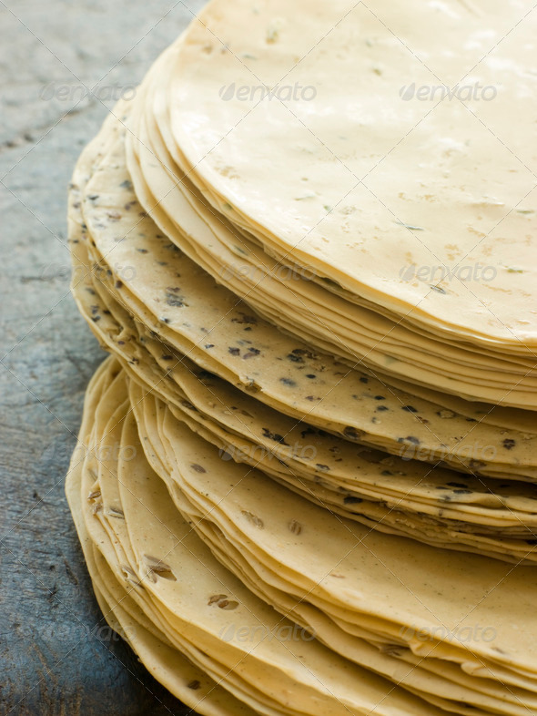 Stack of uncooked Papadoms - Stock Photo - Images