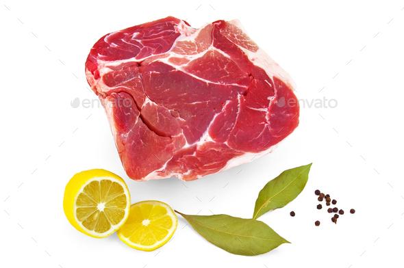 Pork with lemon and laurel  leaf - Stock Photo - Images