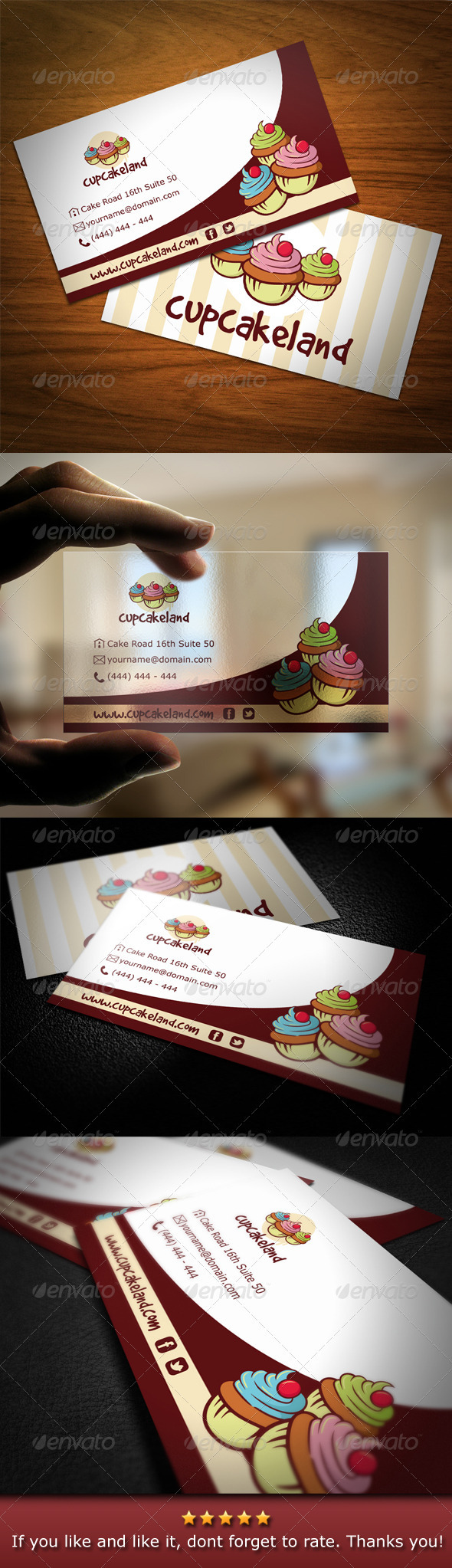 Cupcake Backery Business Card - Industry Specific Business Cards