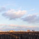 sunset sky over city park and residential district - PhotoDune Item for Sale