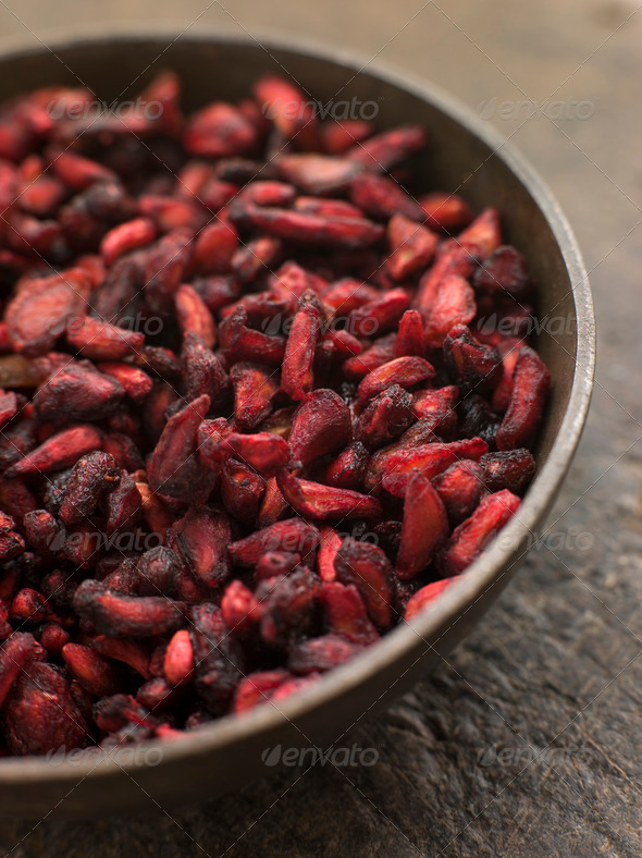 Dish of Dried Pomegranate Seeds - Stock Photo - Images