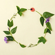 A wreath of summer garden plants and flowers on a yellow background. - PhotoDune Item for Sale