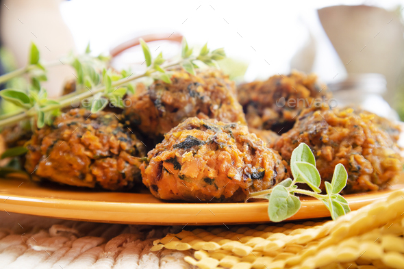 Falafel prepared with carrots and various spices - Stock Photo - Images