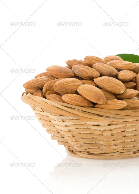 set of almond nuts isolated on white - Stock Photo - Images