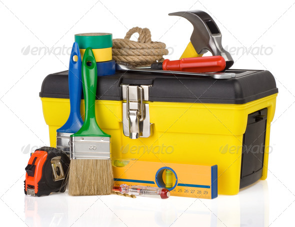 set of tools and instruments in box - Stock Photo - Images