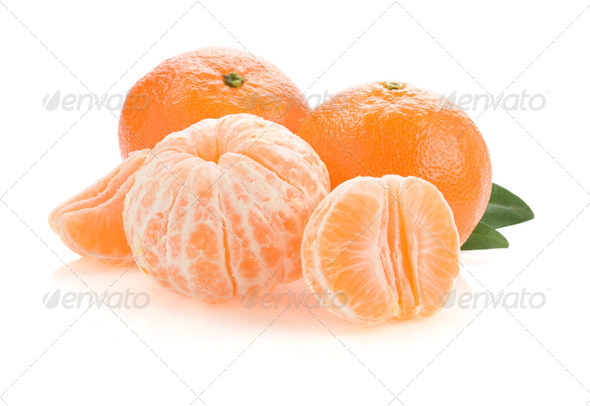 tangerine orange fruit and slices on white - Stock Photo - Images