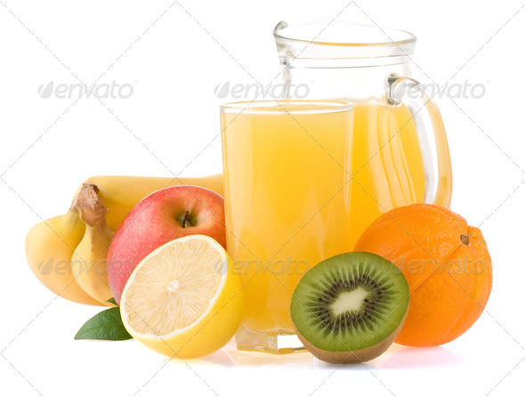 fresh fruits and juice in glass isolated on white - Stock Photo - Images
