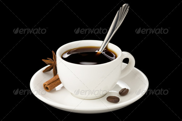 cup of coffee with beans isolated on black - Stock Photo - Images