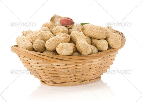 peanuts isolated on white - Stock Photo - Images