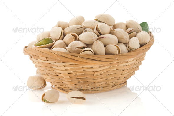 pistachios isolated on white - Stock Photo - Images