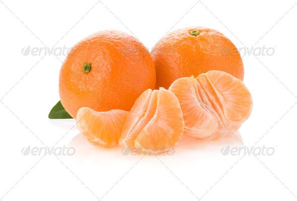tangerine orange fruit and slices isolated on white - Stock Photo - Images