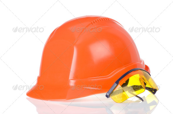construction helmet and glass tool on white - Stock Photo - Images