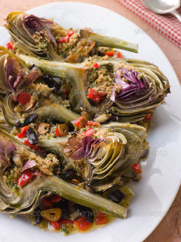Roasted Globe Artichokes with Aubergine Peppers and Olives - Stock Photo - Images