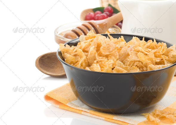 corn flakes with berry and milk isolated on white - Stock Photo - Images