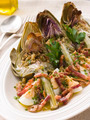 Roasted Globe Artichokes with Pancetta Egg and Garlic Breadcrumbs