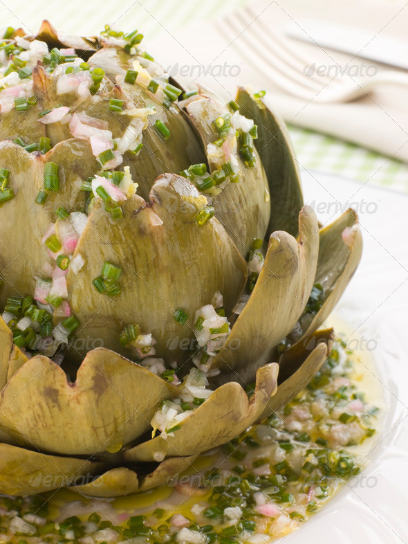 Warm Globe Artichoke Vinaigrette - Stock Photo - Images
