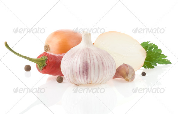 garlic and vegetables with food spices isolated on white - Stock Photo - Images