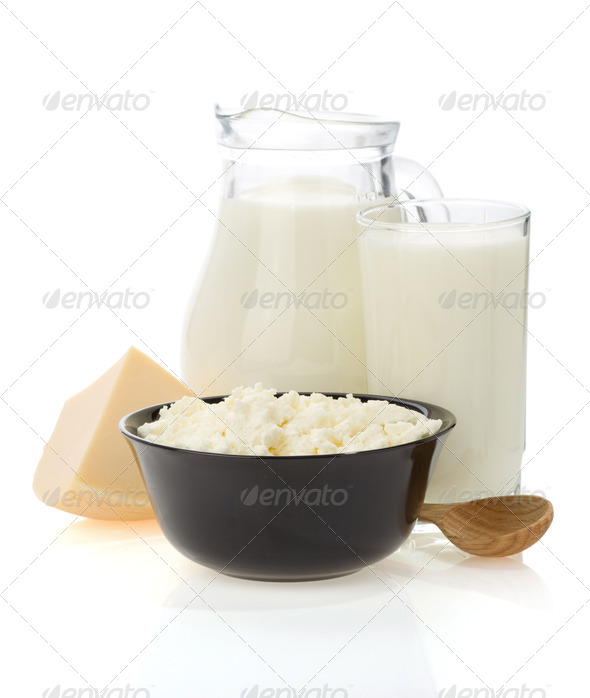 milk products isolated on white - Stock Photo - Images