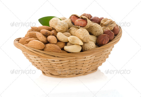 set of nuts isolated on white - Stock Photo - Images