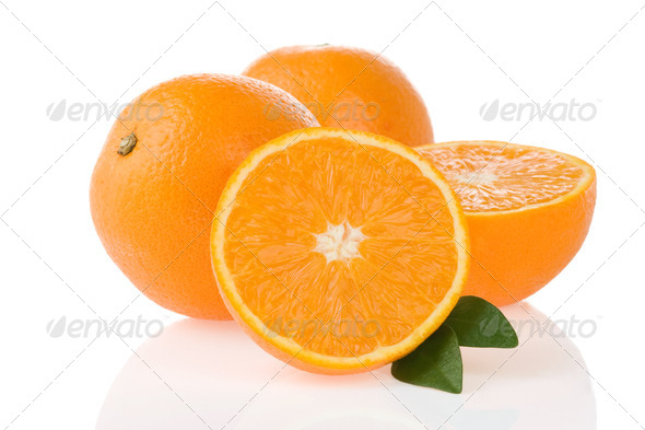 orange fruit and slices isolated on white - Stock Photo - Images