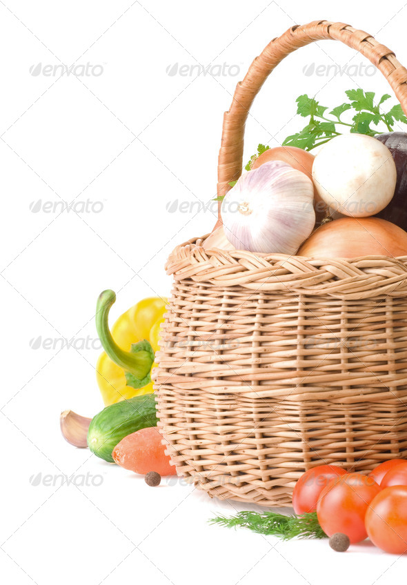 vegetable food and basket isolated on white - Stock Photo - Images